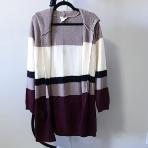 Long sleeve, hooded, color block,sweater cardigan